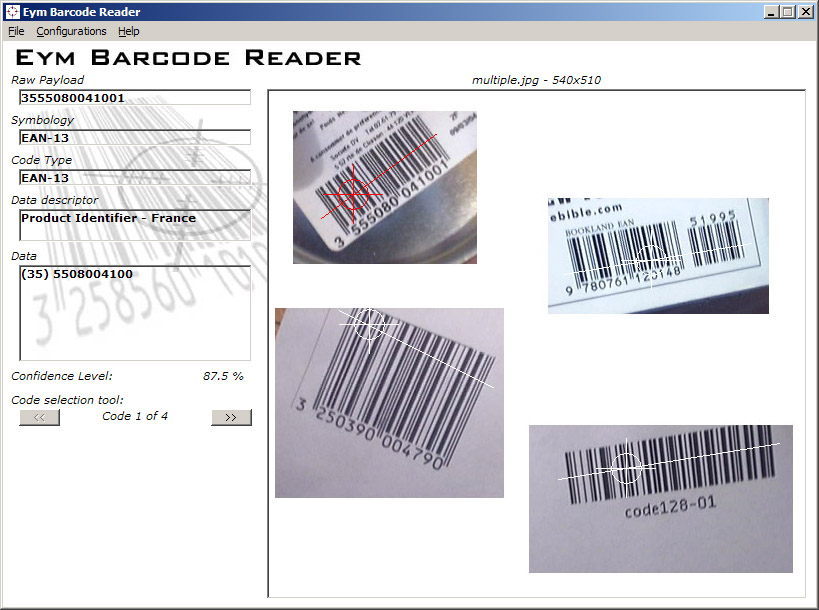 Locates and decodes 1D barcodes from images
